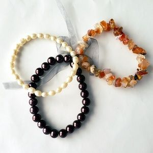 Jewelry - 3 Elastic Pearl and Stone Layering Bracelets